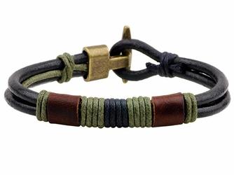 Bransoletka MĘSKA sznurek RZEMIEŃ SKÓRA