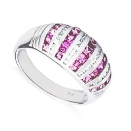 Aria pierścionek srebrny obrączka różowe szafiy