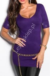Fioletowy sweter krótki wywijany rękaw z cyrkoniami, 8050