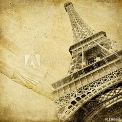 Plakat na papierze fotorealistycznym papier vintage z wieżą eiffla