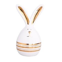 Figurka ceramiczna  ozdoba świąteczna na wielkanoc zając ze złotymi uszami altom design 6,5 x 6,5 x 12,5 cm