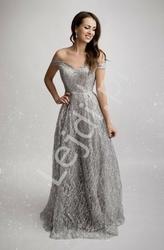 Srebrna suknia brokatowa z odsłoniętymi ramionami 2175