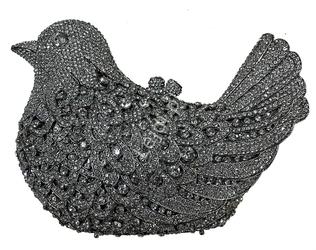 Unikatowa luksusowa torebka wieczorowa, ślubna z kryształkami  - gołąbek | osadzane ręcznie cyrkonie nr 5