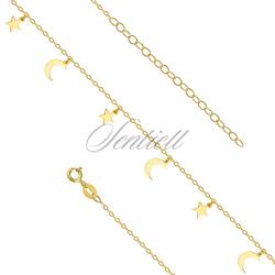 Srebrna pozłacana bransoletka na nogę pr.925 z księżycami i gwiazdkami