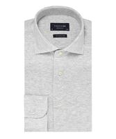 Elegancka siwa koszula męska z dzianiny slim fit 41