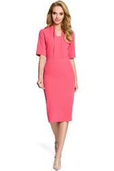 Różowa Elegancka Sukienka Ołówkowa z Rękawem 12