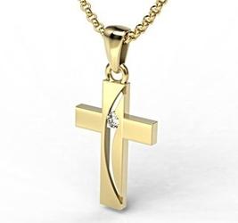 Krzyż wykonany z żółtego złota z diamentem kr-4z