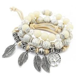 Bransoletki zestaw biały koraliki drzewo - biały