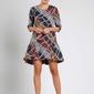 Granatowa wizytowa sukienka o kroju litery a z falbanką