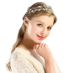 OPASKA do włosów OZDOBA ślubna SREBRNA perłowa - SREBRNA