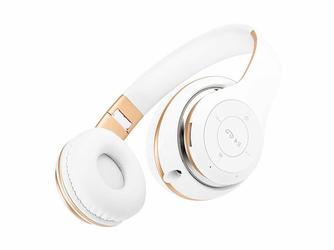 Słuchawki Bezprzewodowe BT-09 Biało-Złote - Biały    Złoty