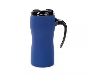 Kubek termiczny z rączką fluo 450 ml gumowany niebieski