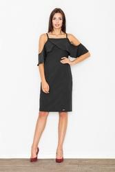 Czarna ołówkowa sukienka na ramiączkach z falbaną