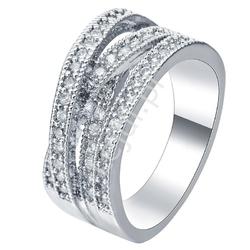 Szeroki pierścień srebrny z drobnymi cyrkoniami