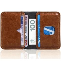 Cienki skórzany portfel męski solier sw11 brązowy - brązowy