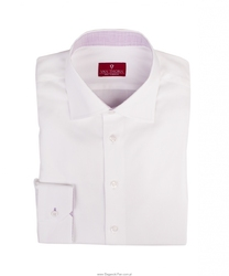 Elegancka biała koszula męska VAN THORN ze stójką i środkiem mankietów we fioletową kratkę - krój SLIM FIT 44