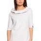 Damska bluza z krótkim rękawem i kapturem stracciatella b026
