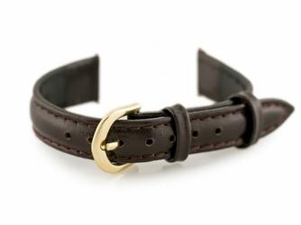 Pasek skórzany do zegarka - CASIO - ciemnobrązowyzłoty II - 12mm