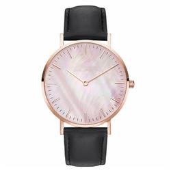 Zegarek damski pasek skóra tarcza melanż czarny - BLACK