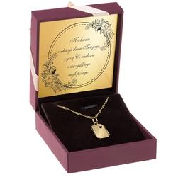 Złoty medalik w kształcie blaszki z wyciętym serduszkiem pr.585 grawer