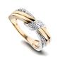 Staviori pierścionek. 14 diamentów, szlif brylantowy, masa 0,07 ct., barwa h, czystość i1. żółte, białe złoto 0,585. szerokość 7 mm.