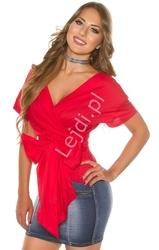 Czerwona bawełniana koszula wiązana w pasie kokardą h9495