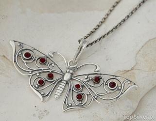 Motyl - srebrny secesyjny wisior z granatami