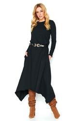 Czarna Dresowa Sukienka z Asymetrycznym Dołem