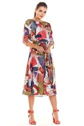 Wzorzysta Klasyczna Sukienka z Rękawem 34