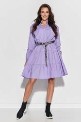 Dziewczęca sukienka z falbankami - liliowa