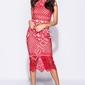 Wieczorowa czerwona midi sukienka z koronką, 8252