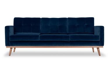 Sofa fern z funkcją spania welurowa 3-osobowa  granatowy