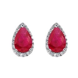 Staviori kolczyki. 32 diamenty, szlif achtkant, masa 0,19 ct., barwa g-h, czystość si2. 2 rubiny, masa 3,60 ct.. białe złoto 0,585. wymiary 10x8 mm.