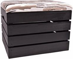 Pufa drewniana schowek skrzynka kuferek siedzisko czarne - 25 wzorów
