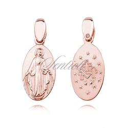 Srebrny pr.925 pozłacany medalik dwustronny - matka boska cudowna - różowe złoto