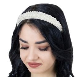 Opaska do włosów biała szeroka perełki perły ślub