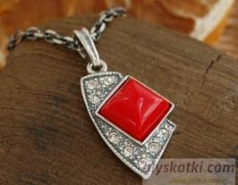 MORONI - srebrny wisiorek z koralem i kryształkami