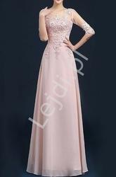 Luksusowa suknia z długim rękawem perełkami, koralikami i gipiurową koronką, jasno różowa