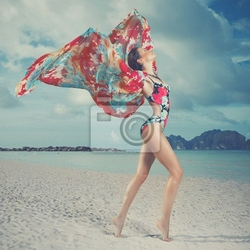 Obraz piękna kobieta na plaży