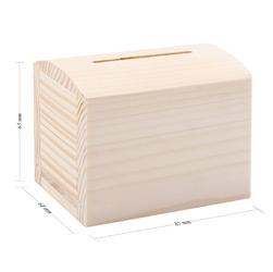 Drewniana skarbonka kuferek mały z nadrukiem