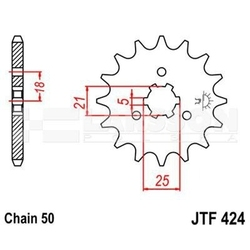 Zębatka przednia jt f424-16, 16z, rozmiar 530 2200192 yamaha rd 400