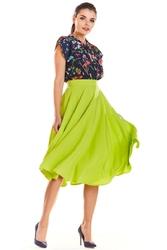 Limonkowa szeroka midi spódnica z kieszeniami