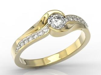 Pierścionek z żółtego złota z brylantami model ap-6139z-r - żółte z rodowaniem  diament