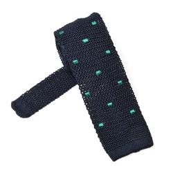 Granatowy krawat knit w zielone kwadraty