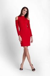 Czerwona ołówkowa sukienka na stójce z wycięciem w rękawie