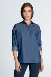 Jeansowa Gładka Koszula z Długim Rękawem