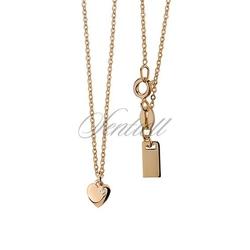 Srebrny naszyjnik pr.925  zawieszką serduszkiem i cyrkonią, złocony