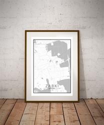 Ząbki mapa czarno biała - plakat wymiar do wyboru: 70x100 cm