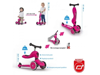 Różowy highwaykick 2w1 jeździk i hulajnoga 1-5 lat