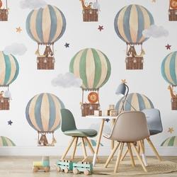 Tapeta dla dzieci - friendly balloons , rodzaj - próbka tapety 50x50cm